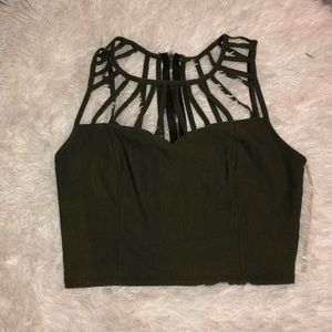 Army Green, Strappy Crop Top